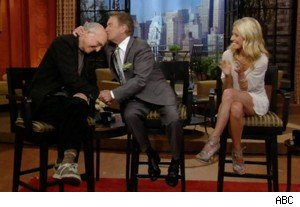 Regis Philbin kisses Larry David on 'Live With Regis and Kelly'