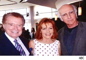 Larry David marks his territory in a photo with Regis Philbin and his wife on 'Live With Regis and Kelly'