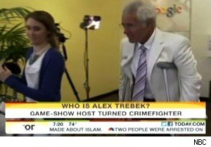 Alex Trebek on crutches after foiling a burglary on 'Today'