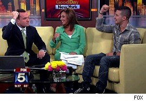 Greg Kelly and Rosanna Scotto fist pumping with Vinny Guadagnino of 'Jersey Shore' on 'Good Day New York'