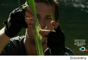 Bear Grylls fashions a fishing pole out of flax on 'Man vs Wild'