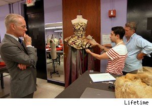 Tim Gunn looks at Bert and Viktor's dress on 'Project Runway'