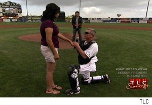Sgt. John Blanchard proposes to his girlfriend, Erica Brown, at a baseball game on 'Surprise Homecoming'