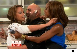 Leah Remini, Duff Goldman, and Holly Robinson Peete make up after a food fight on 'The Talk'