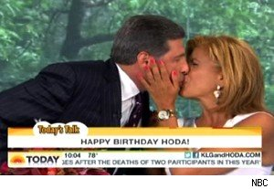 Hoda Kotb and her boyfriend Jay kiss in celebration of Kotb's 47th birthday on 'Today'