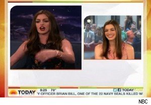 Anne Hathaway watches her 'Conan' performance on 'Today'