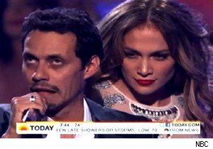 Marc Anthony and Jennifer Lopez on 'American Idol'