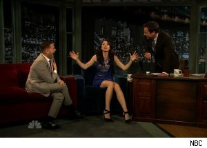 Whitney Cummings &amp; Jonah Hill, 'Late Night with Jimmy Fallon'