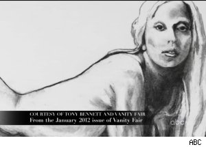 Tony Bennett nude sketch of Lady Gaga, 'A Very Gaga Thanksgiving'