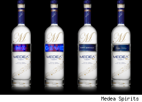 Medea Spirits vodka bottle labels