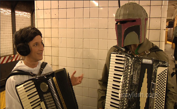 Princess Leia And Boba Fett Have Star Wars Accordian Battle