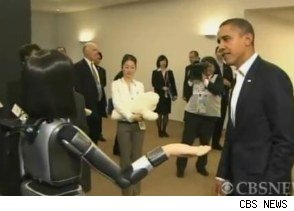 Obama makes nice with a chatty robot