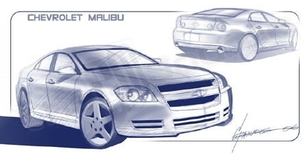 Chris Pauwels sketch: Chevy Malibu '08