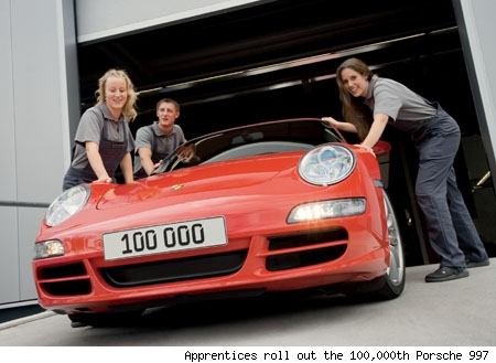 Apprentices roll out the 100,000th Porsche 997