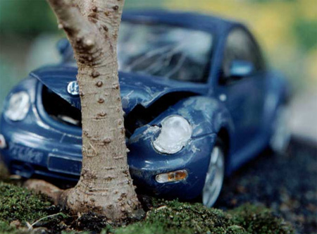 Auto Racing Accidents on Auto Art  Little Cars Meet Their Little Ends At Little Trees