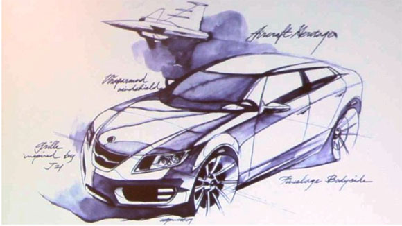 2010 Saab 9-5 rendering with jet