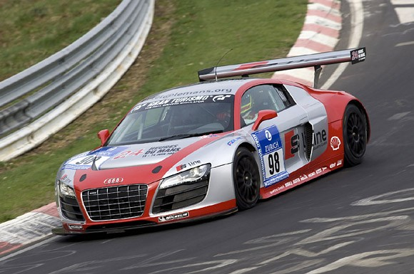 two cars at the Nürburgring 24 Hour race with factory support from Audi.