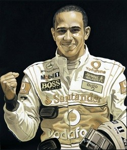 Mobil One portrait of Lewis Hamilton