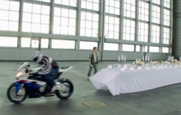 Motocycle tablecloth pull trick