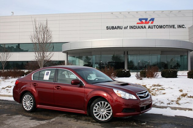 Subaru Legacy 2.5GT in front of Subaru Indiana Automotive