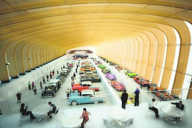 Rendering of the main hall at the LeMay America's Car Museum