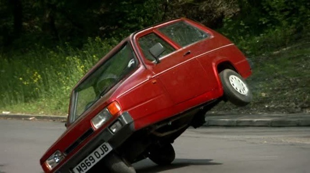 reliant robin flips top gear