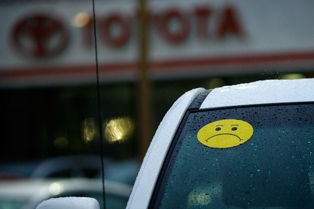 unhappy Toyota windshield sticker
