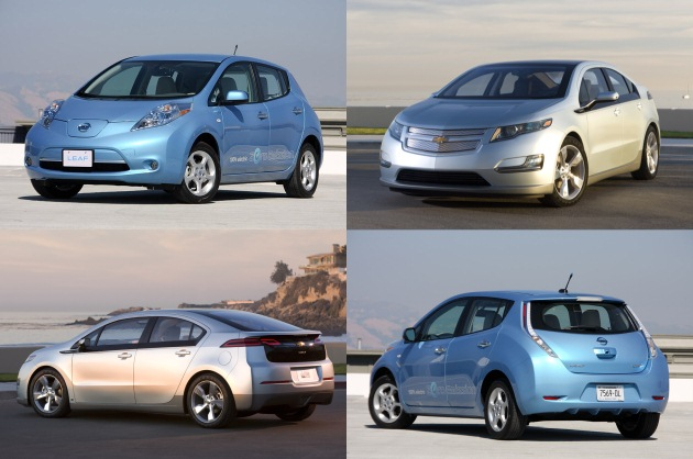 2011 Chevrolet Volt and Nissan Leaf