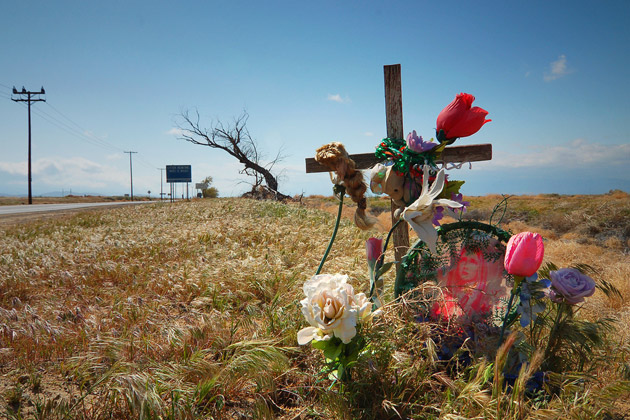roadside crucifix with flowers