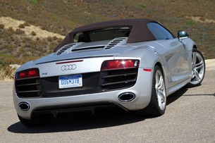 2011 Audi R8 V10 Spyder top-up rear view