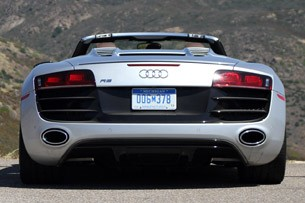 2011 Audi R8 V10 Spyder rear-on view
