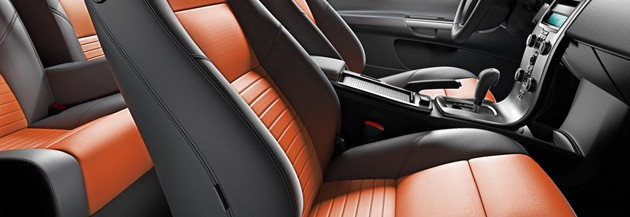 Volvo interior with orange leather