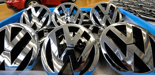 VW chrome emblems in factory bin
