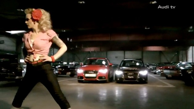 Audi A1 meets classic American cars and a blonde bombshell
