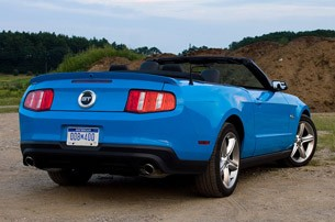 2011 Ford Mustang GT Convertible rear 3/4 view