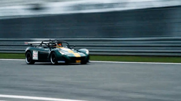 Lotus 2-11 at speed on Nurburgring