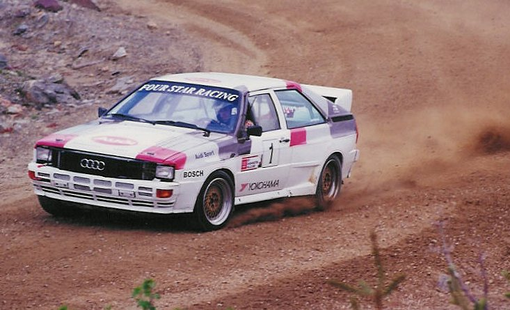 Frank Sprongl in his Audi Quattro