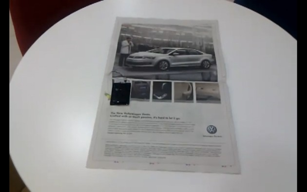 Volkswagen talking newspaper ad