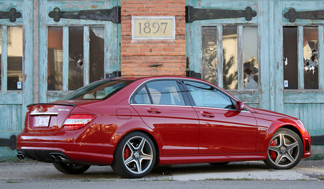 2010 Mercedes-Benz C63 AMG P31 Development Package, rear 3/4 view