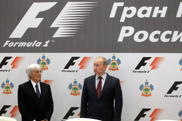 F1's Bernie Ecclestone with Vladimir Putin
