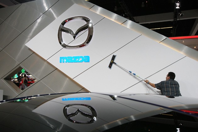 Mazda logo at auto show