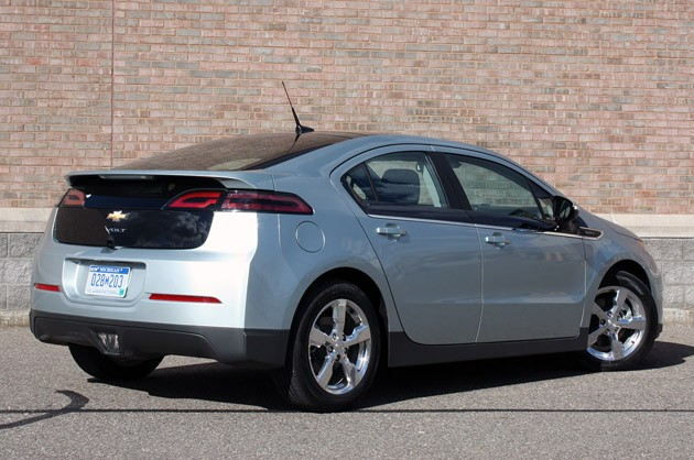 2011 Chevrolet Volt rear 3/4 view