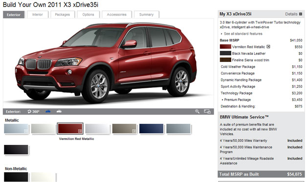 bimmer builder 2011 bmw x3 configurator comes online. Black Bedroom Furniture Sets. Home Design Ideas