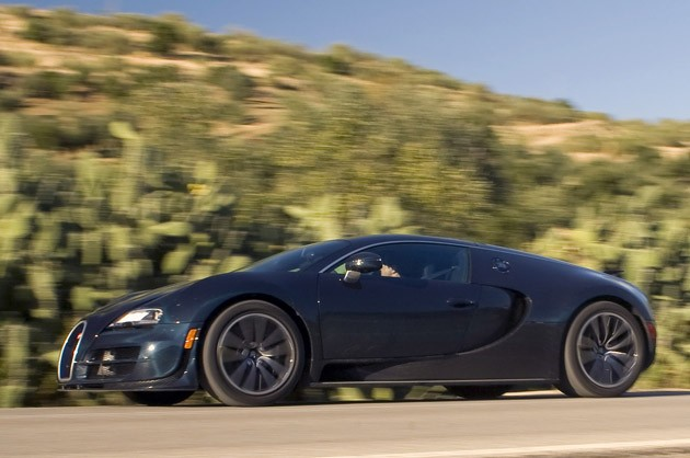 2011 Bugatti Veyron Super Sport front 3/4 driving view