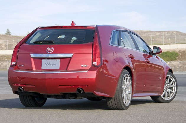 2011 Cadillac CTS-V Wagon rear 3/4 view