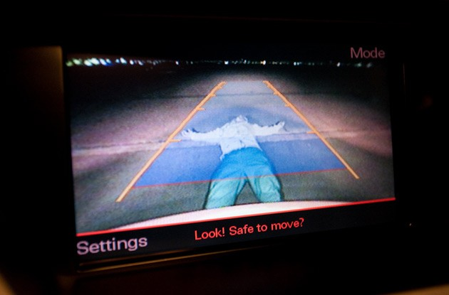 Backup camera view with body