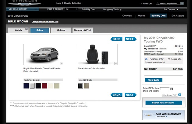 2011 Chrysler 200 configurator screencap