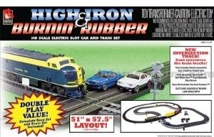 High Iron & Burnin Rubber Train & Racing Set HO Scale