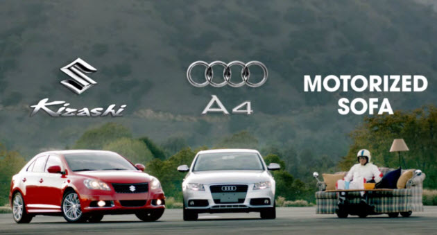 Suzuki Kizashi vs Audi A4 vs Motorized Sofa