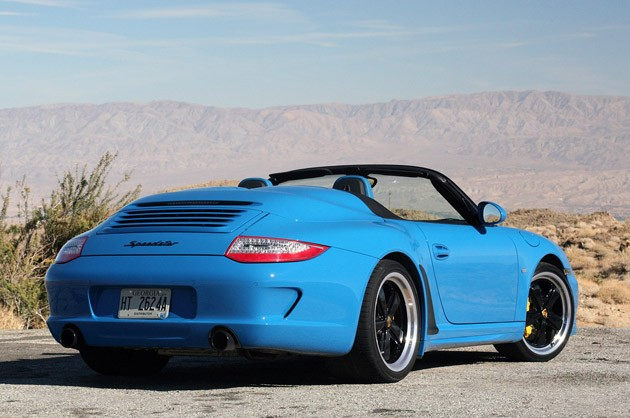 2011 Porsche 911 Speedster rear 3/4 view
